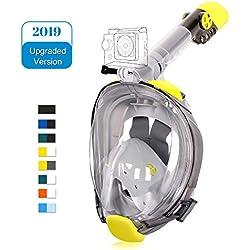 Unigear Masque de Plongée, Masque Snorkeling Plein Visage 180° Visible, Antibuée Anti-Fuite sous-Marine, 2019 Nouveau Version Snorkel Masque avec la Support pour Caméra de Sport (Jaune-Gris, S/M)