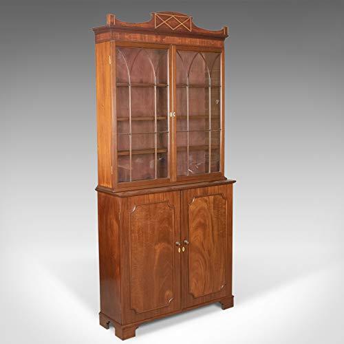 Antikes Bücherregal, englisch, viktorianisch, Mahagoni, Vitrinenschrank, Circa 1900