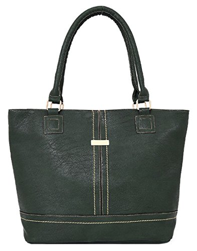 Kukubird Charly Finto Cuoio Metal Bar & Dettaglio Cucitura Spalla Top-Handle Tote Handbag Green