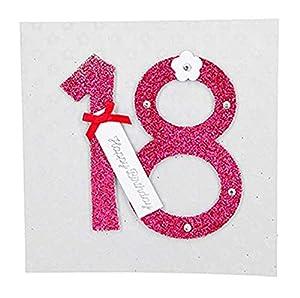 Depesche 8211.001Tarjeta de felicitación Glamour con Ornamento y Purpurina, 18Cumpleaños