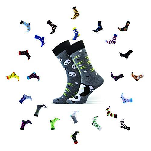 Sesto Senso® Lustige Socken Baumwolle Damen Herren 1er oder 3er Paar Wadensocken Unisex Wunderliche Seltsame Ungerade Fun Socks (39-42, Panda)