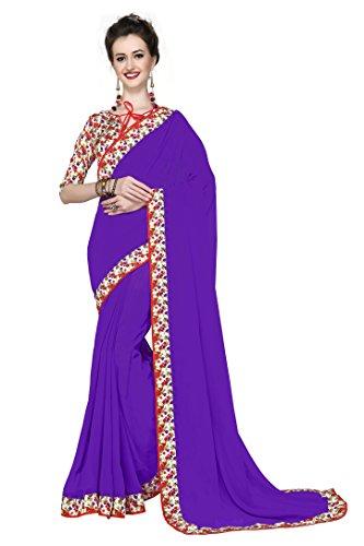 Arawins Georgette Saree (V_104_Purple_Free Size)