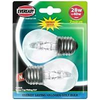 20x Eveready Energy Saver Halogen Golf Ball Bulbs 28W=40W - ES/E27 (2000HRS LIFE)