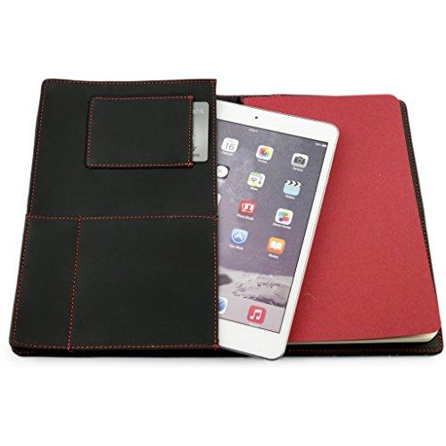 A.P. Donovan - Hülle für iPad mini 2 / 3 / 4 - Mehrzweck-Organizer, Terminplaner, Geldtasche für Herren - Kreditkartenetui Schwarz - aus Leder