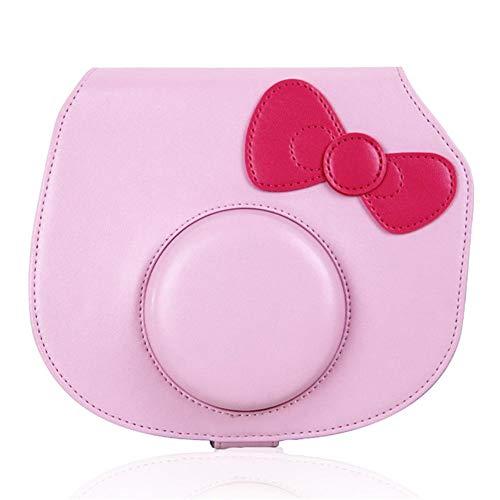 seasaleshop Fujifilm Instax Mini Hello Kitty Sofortbild Kamera Hülle, HelloHelio [Passgenau] Pink Kitty Bowknot Hülle Für Fujifilm Instax Mini Kitty Sofortbildfilmkamera mit Schultergurt