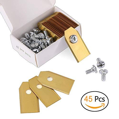 45 x Titan Messer Klingen für alle Husqvarn® Automower®/Yardforce/Gardena Mähroboter (3g - 0,75mm) inkl. 45 Schrauben, Diese Ersatzmesser passen für 105, 310, 315, 320, 420, 430x, r40i uvm (Golden)
