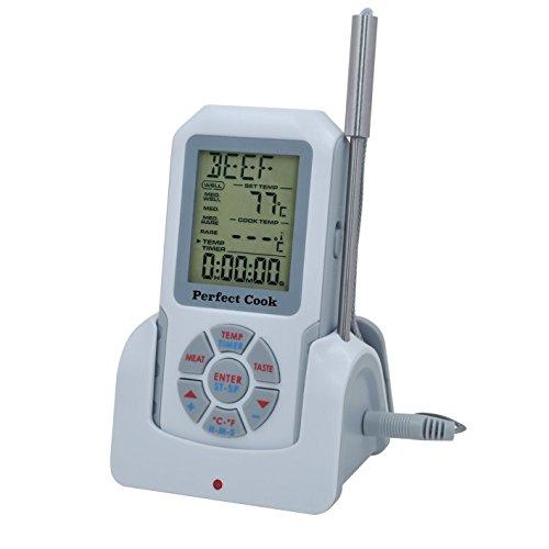 Perfekt Kochen–Long Range Wireless Digital Fleisch Thermometer mit Target Temperatur Alert und Küche Timer–Fernbedienung BBQ, Smoker, Grill, Ofen Kochen, inkl. 2Schnelle Lesen Sonde und Taschenlampe