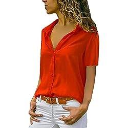 Lanskirt Camisa de Manga Corta con Cuello en V en Color Liso, Blusa Corta de Verano de Damas. Tops t Shirt Elegante Camisetas(Rojo, XXXXXL)