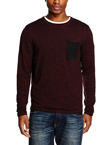 JACK & JONES JORFLICKER KNIT CREW NECK, Felpa Uomo, Rosso (Port Royale), Small