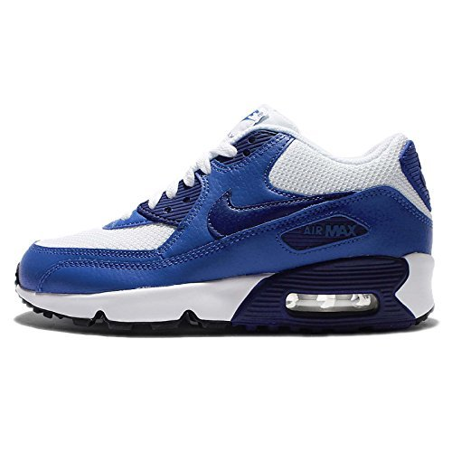 nike Air Max 90 Mesh (GS) Trainers 833418 Sneakers Shoes (4.5 M US Big Kid, white deep royal blue black 105)