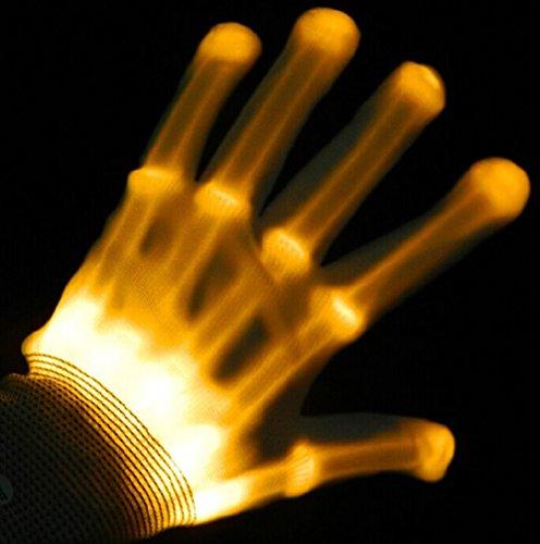 LED Bunte Blinkt Finger Beleuchtung Handschuhe für Clubbing Tanzen Rave Geburtstag EDM Disko Licht Show By Alxcio (Gelbes Licht)
