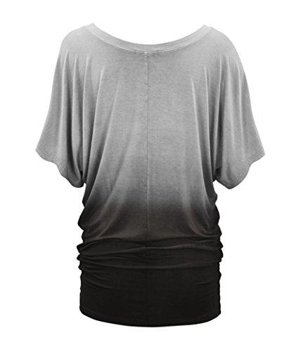 NiSeng Donne Gradiente Di Colore Solido Girocollo Camicia A Maniche Corte Medio-Lungo T-shirt Casual Tops Grigio
