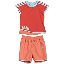 Adidas Conjunto Baby Niña Camiseta + Short Rojo-Coral - 92 (18-24