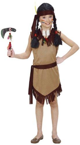 Widmann 02606 - Kinderkostüm Indianerin, Kleid mit Gürtel und Stirnband, Größe 128