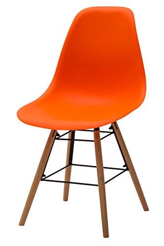 White Loft, Set de 4 chaises, Bois, Orange, 47 x 52 x 84 cm