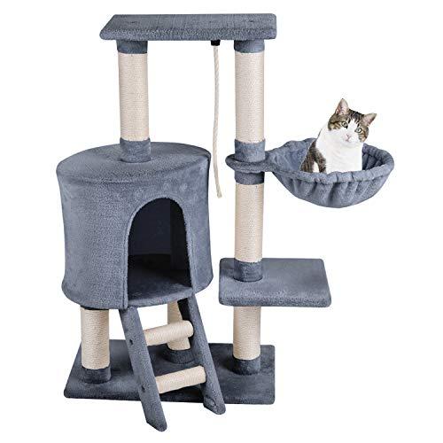 MC Star Árbol para Gato con Rascador de 96cm, Arañazo Juguete de Gatos de Sisal Natural,Gris
