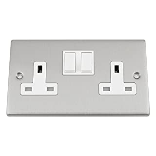 Socket 2 Gang - Satin Matt Chrome Square - White Insert Plastic Switch - 13A Double Wall Plug Socket