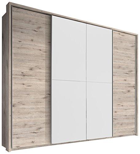 Stella Trading Cinema 4-türiger Kleiderschrank, Holz, sandeiche/weiß, 60 x 270 x 226 cm