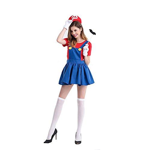 Damen Mario Rock Overalls Super Klempner Bros Cosplay Kostüm Halloween Verrücktes Kleid Kleidung mit Hut Bart - Halloween Klempner Kostüm