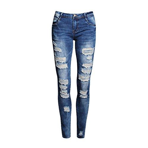 ROMANTIC BEAR Frauen Mode Loch hohlen Baumwoll Stretch Skinny Zerrissene Jeans