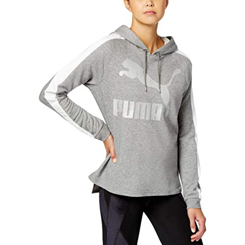PUMA Womens French Terry Logo Hoodie Gray S Ladies French Terry Hoodie