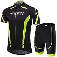 Letook Body Tuta Ciclismo Completo Bici Uomo Estivo con Maglia Corta e Pantaloncini Corti Imbottiti Abbigliamento Ciclismo Set(Maglia+Pantaloncini,L)