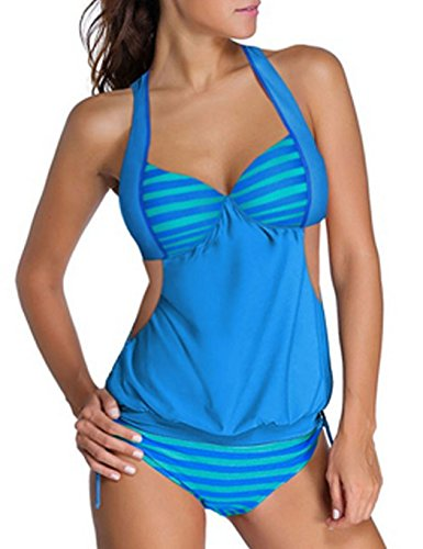 ZEARO Sexy Damen Monokini Halter Tankini One Piece Bikini Patchwork Badeanzug Strand Bademode Hellblau