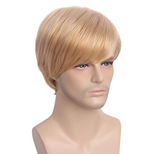 STfantasy Ash Blonde Männer Perücken Kurze Gerade Für Männlichen Kerl Kostüm Anime Kostüm Cosplay Täglichen Gebrauch Männer - Männlichen Fantasie Kostüm