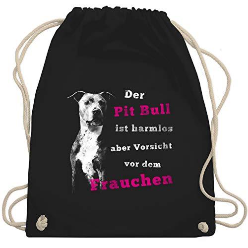 Hunde - Der Pit Bull ist harmlos aber Vorsicht vor dem Frauchen - Unisize - Schwarz - WM110 - Turnbeutel & Gym Bag