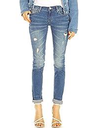 Bestyledberlin Damen Jeans, Slim Fit Jeanshosen Destroyed Style, Used Look Stretch Hose j49f