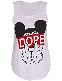 Fats Fashion - Vest Top Life Manches Pug & Dope Mickey Stretchy - Femmes