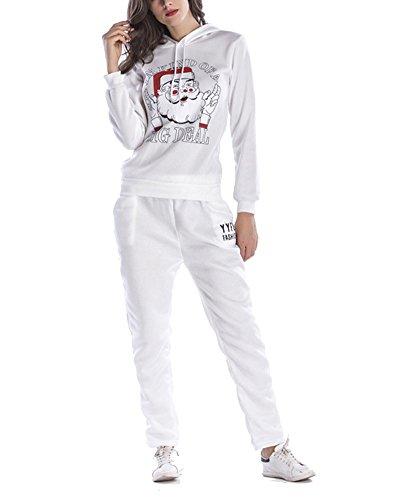 Donna Felpa Con Cappuccio Manica Lunga Pantalone Due Pezzi Completi Sportivi Bianco