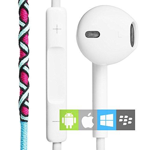 Auriculares in-ear con Cable y Micrófono Estéreo 3.5mm (control remoto integrado) | Cascos deportivos con manos libres y control de volumen azules y rojos | Auriculares en la oreja para el móvil, manos libres