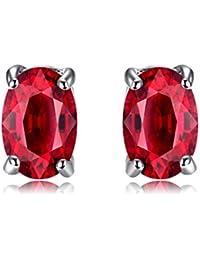 JewelryPalace Mujeres Ovalado 1.2ct Creado Rojo Rubí Sólido 925 Pendientes de Plata de Ley