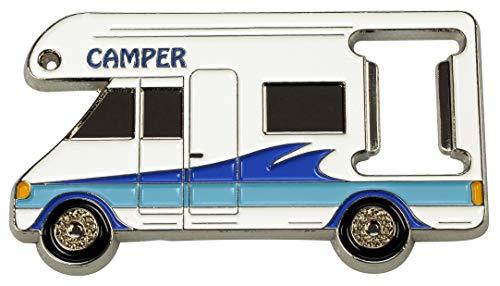 happyROSS Flaschenöffner Camper | Kapselheber zum Öffnen von Flaschen mit Kronkorken | Schlüsselanhänger aus hochwertigem Metallguss | Campingplatz, Wohnmobil, Freizeit, Reise