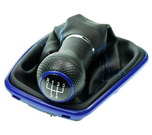 L&P A251-5 Schaltsack Schaltmanschette in Schwarz mit blauer Naht Blau + Schaltknauf + Rahmen Blau mit 5 Gang mit 23mm Knauf als Plug Play Ersatzteil für 1J0711113