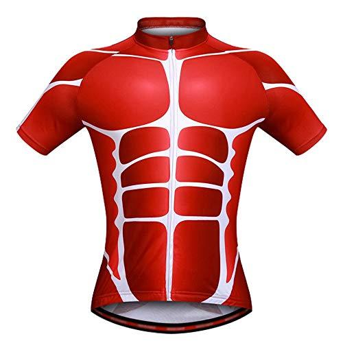 Rawall-jer Männer Radtrikots Muscle Printed Herren Radtrikot Shirt Kurzarm Fahrradtrikot Reitoberteile Sommer Outdoor MTB Fahrradbekleidung Geeignet für Reiten im Freien (Farbe : Rot, Größe : M) -