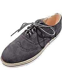 Mocasines Mujer Cordones Ante Piel Brogues Plataforma Zapatos Derby Cuña Botas Planos Casual Vintage Moda Verano Negro Marrón Gris…