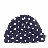 Louka Babymütze dunkelblau mit weiße Sternen - Mutzchen, Hute mit bestickte BABY NAMEN für Neugeborene Baby - Unisex Jungen Mädchen Jersey - Handgefertigt !