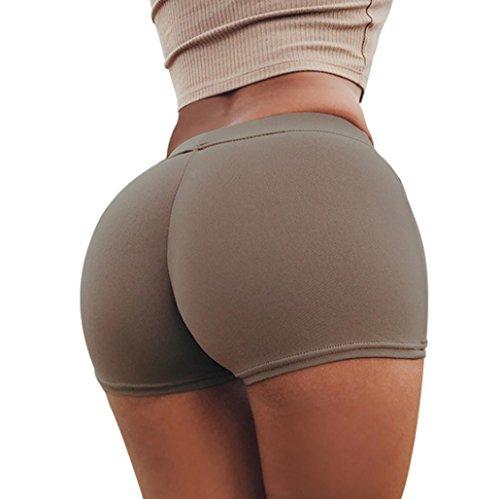 Damen Sport Shorts FORH Frauen Sommer Vintage High Waist Elastische Stretch Kurz Hosen Yoga Sport Fitness Workout Hotpants Sexy Skinny Leggings bequem Zuhause Schlaf shorts (Kaffee, S) (Bermudas Taille, Elastische)