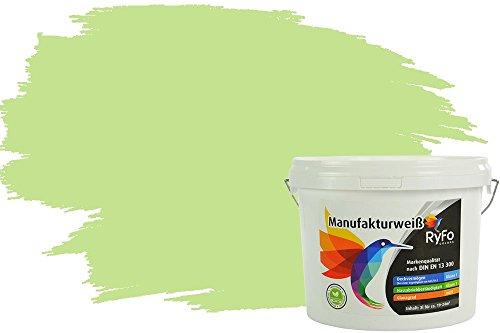 RyFo Colors Bunte Wandfarbe Manufakturweiß Wasabigrün 3l - weitere Grün Farbtöne und Größen erhältlich, Deckkraft Klasse 1, Nassabrieb Klasse 1