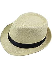 Leisial Unisexe Panamas Chapeau de Paille Tissage Anti-soleil Respirant Anti UV pour Loisir Voyage