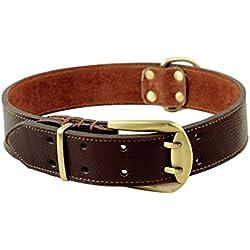 PENTAQ Cuello de perro Collar de entrenamiento de cuero para perros grandes Cuello Cuello Collar de mascotas Durable y Cómodo Perro Leash Gancho suave cuello ajustable de los 59cm -70cm (Marrón)