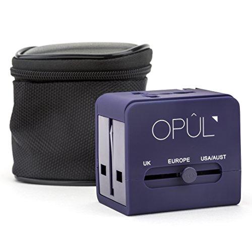 Adaptador de viaje universal de OPUL, 2 puertos USB, 110-240v, USB compatible con iOS y Android