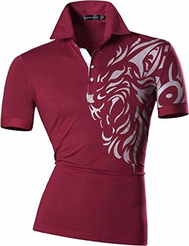jeansian Herren Freizeit Slim Fit Short Sleeves Casual POLO T-Shirts U009 U016_WineRed