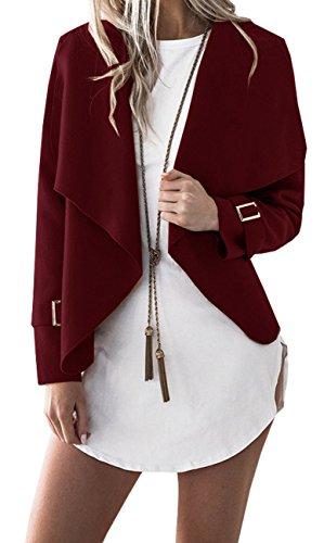 BLACKMYTH Donna Mode Cappotto Di Iana Lapel Cardigan Corto Manica Lunga Giacca Vino Rosso