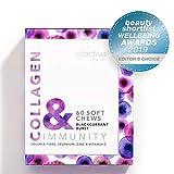 Ellactiva Collagen& Immunity I With Vit C, Soluble Fibre, Selenium & Zinc I 60 Soft Chews I Blackcurrant Burst I No Added Sugar