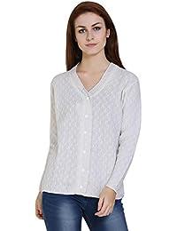 TAB91 Women's White V Neck Designer Sweater