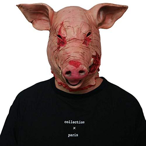Schweinekopf Kostüm - Yuyudou Halloween Kostüm der Neuheit, Party Latex Tierkopf Maske Schweinekopf, Unheimlich Zombie-Maske für die Cosplay Party