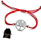 Lilloubella Bracelet Arbre de Vie Fil Rouge Chance Zircon cubique Bleu Fil Rouge réglable pour Femme